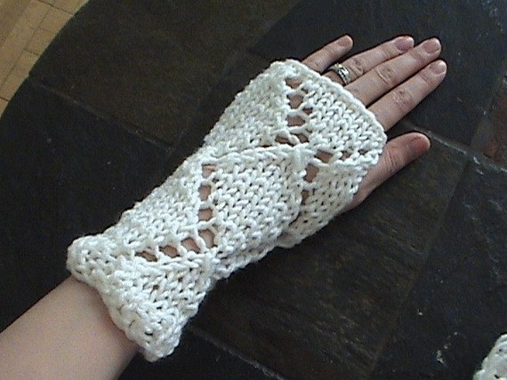 Bone Bleach White Knit Wristwarmers or Armwarmers-Fingerless Gloves-FREE DOMESTIC SHIPPING