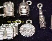 Lot of 30  Beer Charms 6 Different Mug Keg Cap Bottle