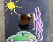 Volkswagen Wall Art Mirror - Black,Pink & Green
