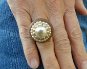 Georgeous One of a Kind Vintage hand-made pearl ring with adjustable band