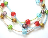 Colorful Funky Three Strand Necklace with Foil Coin Beads and Matching Earrings