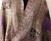 Vintage Pashmina Cashmere Silk Shawl India Purple  FREE SHIPPING to the US and Canada Ends Tonight