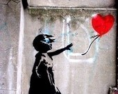 GIRL, LOVE, BALLOON AND BANKSY - 8.5x11 inches, wall art, photographic print