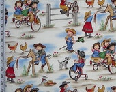 2y LIL COWGIRL Michael Miller Retro Vintage Juvenile Kids Fabric