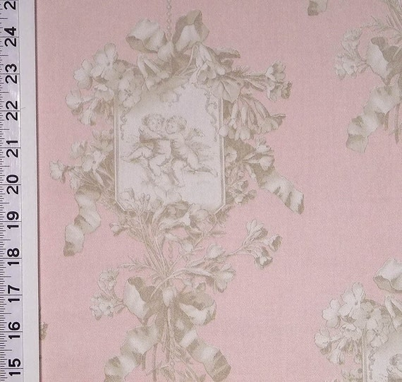 Shabby chic angel toile pink brown braemore drapery upholstery for Toile shabby chic