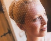 White or Ivory French Russian Netting BIRDCAGE CAGE VEIL, so vintage, retro, antique