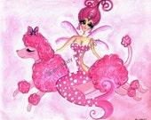 Pink Poodle Fairy Mermaid Art By Sherri Baldy ZNE