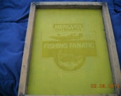 "Vintage ""Fishing Fanatic Mercury Outboards"",  Silk Screen Frame"