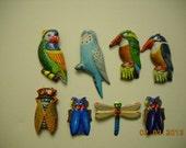 Vintage Tin Bird and Bug Pins