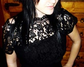 Vintage Black Dress with lace size small