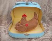 Handmade Felt/Cotton Mother Hen and Chick, Chicken, Ornament