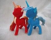 "Handmade Felt/Cotton Unicorn/Pony Pair ""Farfire and Tide"", Miniature, Ornament, Plushie"