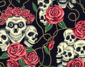 Skull Fabric - The Rose Tattoo - Antique Colorway - by the yard