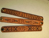Hand tooled personalized leather wristband