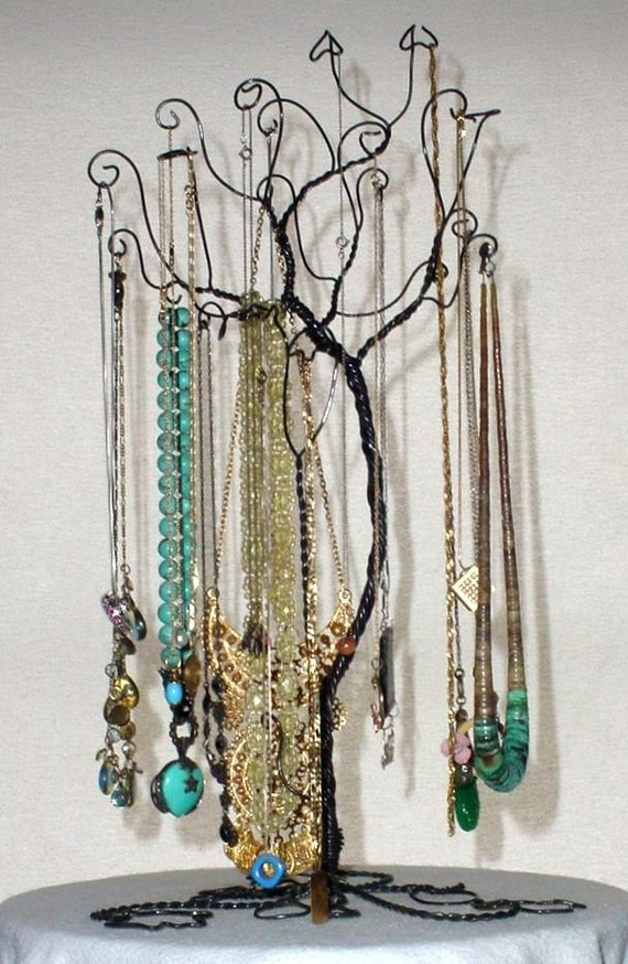 Jewelry necklace tree stand holder rack for Tree branch jewelry holder