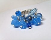 Blue Glass Bead Cha-Cha Ring