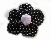 Barrette-Large Black Polka-Dot Flower Clip