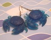 Vintage Funky Blue Crab Earrings