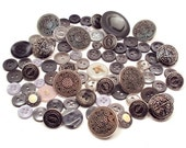79 Vintage Gray and Silver Buttons