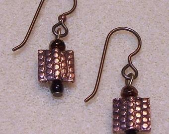 NICKEL FREE earrings - - hammered copper pendants