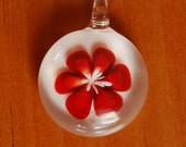 SALE PRICE REDUCED///Beautiful Red Glass Flower Pendant