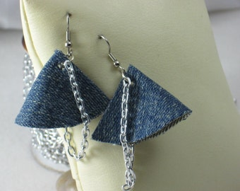 Cone Sew Forgiven jean earrings with silvertone draped chain-136