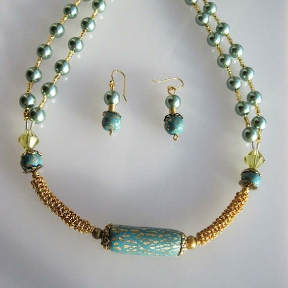 Gold Wire Coiled Necklace with Turquoise Clay and Sage Pearls Set