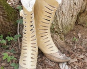 Ankle Leather Gaiters\/Spats Gold-SALE