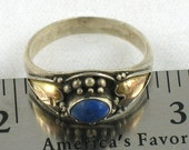 RESERVED Vintage Sterling and Gold Ring With Lapis lazuli