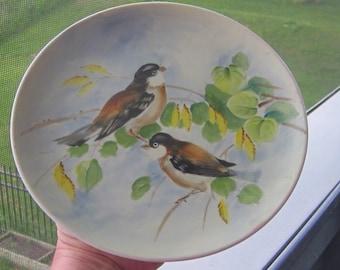 Lefton China Chickadee SL 5882 Hand Painted Plate 1960 Era