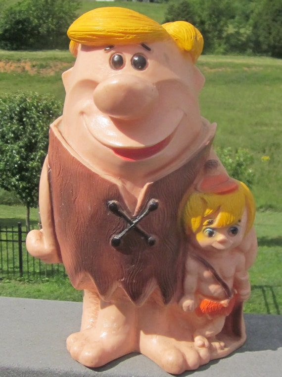 Barney Rubble and Bam Bam 13 Inch Bank Vintage 1971