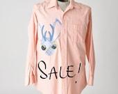 mens jackalope shirt - applique button-down - SALE