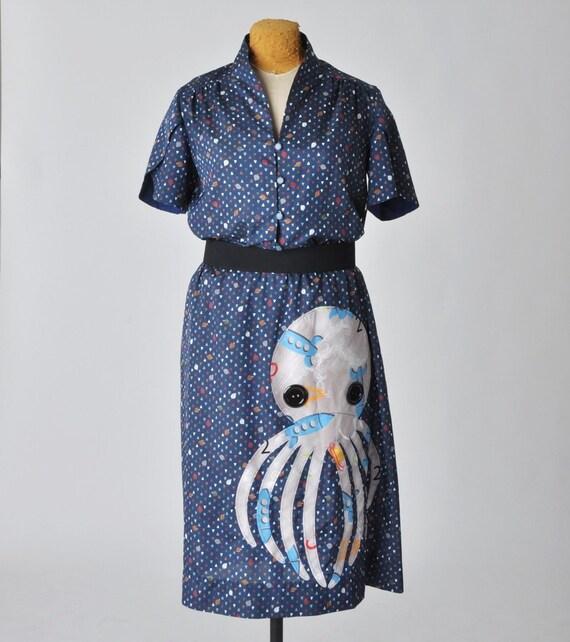 20% OFF sale blue octopus dress - L / XL - rockets & leaves