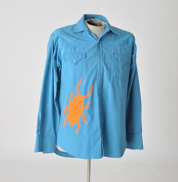 vintage western shirt with a cockroach - applique roach shirt - mens large - SALE - upcycled clothing