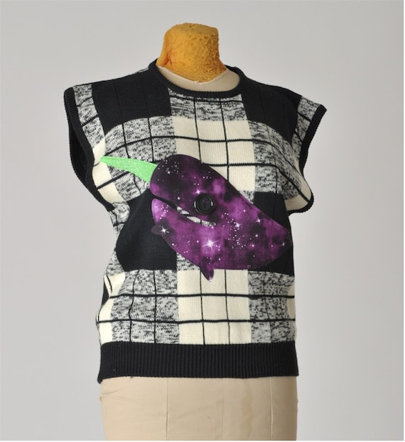 narwhal sweater vest - vintage & galaxy print - applique women - upcycled clothing