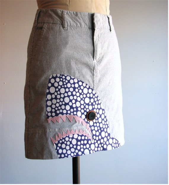 applique shark skirt - nautical pinstripe denim size xs / small