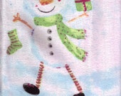 SNOWMAN CROCHET TOP KITCHEN TOWEL NEW UNIQUE