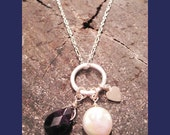 Love- Sterling Silver Charm Necklace with Pearl and Amethyst Stone