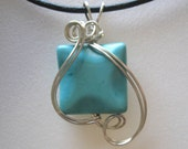 Wavy Egyptian Turquoise Wire Wrapped Pendant Necklace