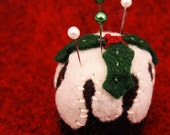 CUSTOM English christmas pudding bottlecap pincushion