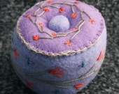 CUSTOM Petite bright little button and flowers Pincushion