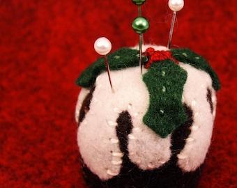 FREE SHIP English christmas pudding bottlecap pincushion made to order
