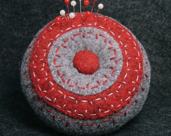 FREE SHIP Red and Grey Ringer Pincushion made to order