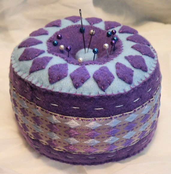 CUSTOM Lavender Diamonds Pincushion