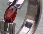 Titanium Tension Set Ring Band with Oval Red Brown Garnet and Diamonds