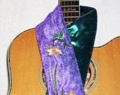 Custom Handmade Guitar Strap - Purple and Teal Hummingbird