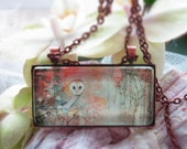copper owl glass pendant -  limited edition fine art gold owl necklace