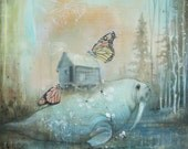 Reconstructed print shadowbox. Reproduction of original mixed media blue walrus, butterfly painting.  in wood box with resin