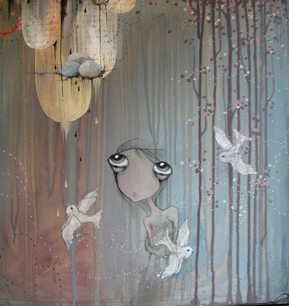 Limited edition fine art wall print on wood with resin.  reproduction of swallow nest, big eyed girl painting