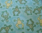 Polka Dotted Frogs Snuggle Flannel